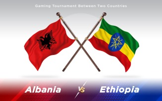 Albania versus Ethiopia Two Countries Flags