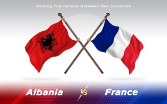 Albania versus France Two Countries Flags
