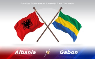 Albania versus Gabon Two Countries Flags