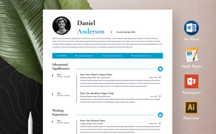 Clean & Professional Editable Word Apple Pages CV Resume Template