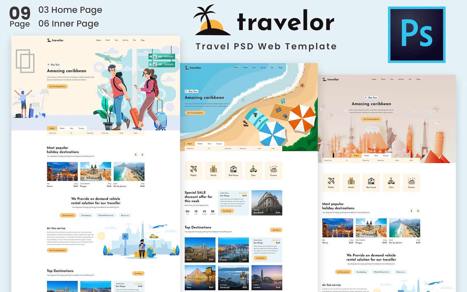 Bootstrap Travelor - Travel & Booking PSD PSD sablon 157882