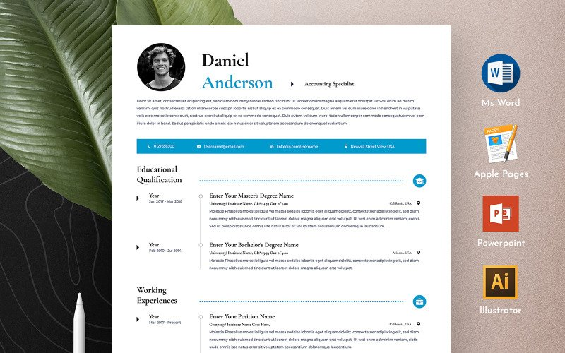 Free Clean & Professional Editable Word Apple Pages CV Resume Template