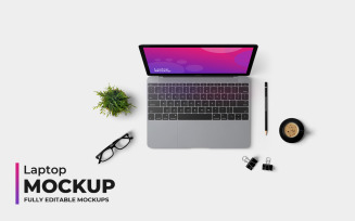 Laptop Top View Product Mockup