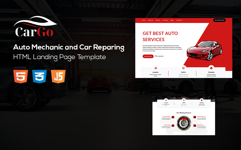 Cargo - Auto Mechanic and Car Reparing Landing Page Template