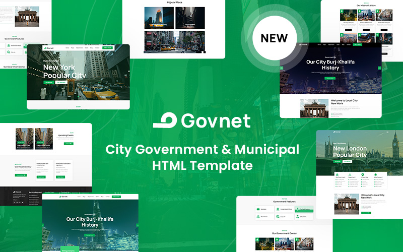 """Govnet -  City Government and Municipal"" - bootstrap Шаблон сайту №157947"