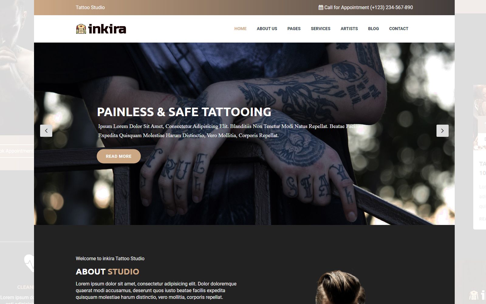 """inkira - Tattoo Studio"" Responsive Website template №157940"