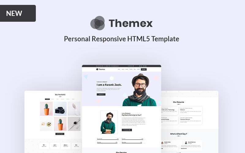 Responsivt Themex - Personal Responsive Landing Page-mall #157946
