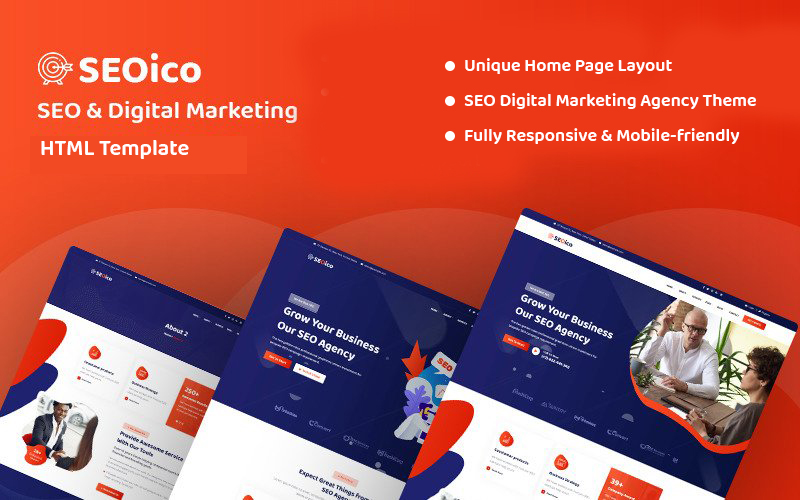 """Seoico - SEO & Digital Marketing"" Responsive Website template №157948"
