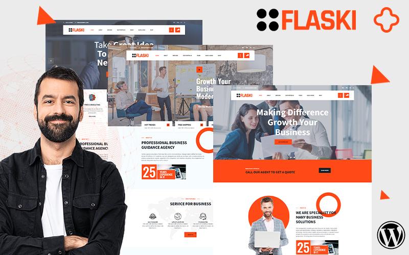 "Tema WordPress Responsive #157941 ""Flaksi Modern Easy Multipurpose Consulting"""