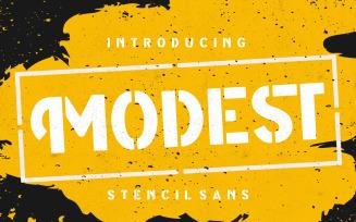 Modest Stencil Sans Font