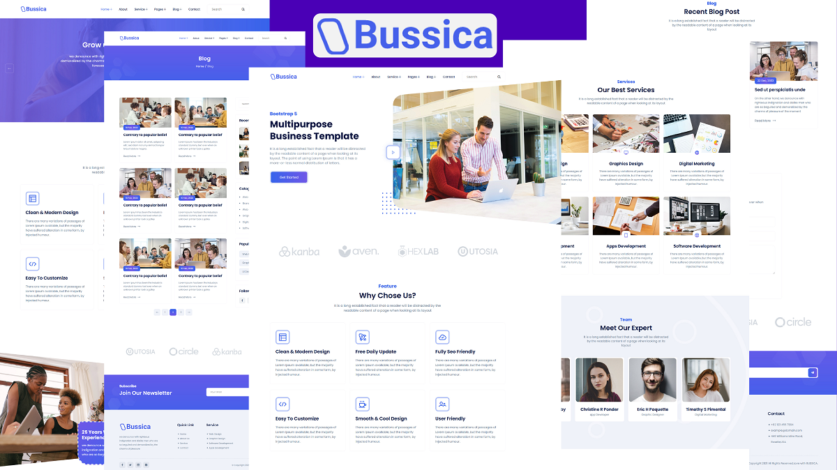 """""""Bussica - Bootstrap 5 Multipurpose Business"""" Responsive Website template №158536"""