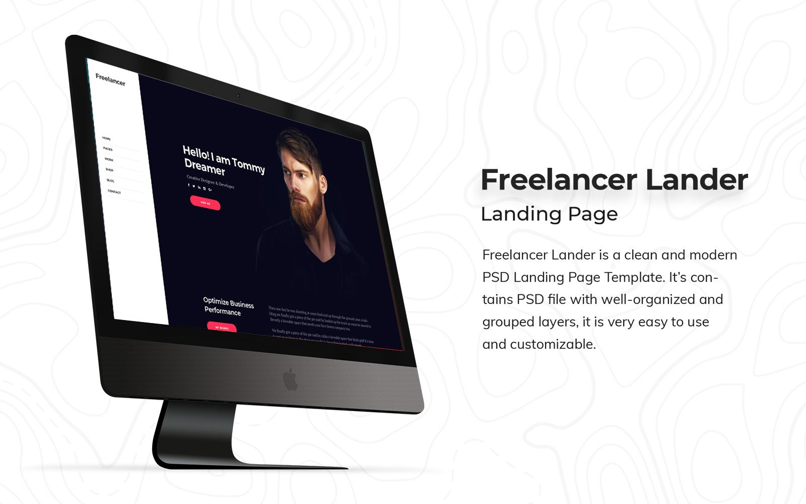 """Freelancer Landing Page"" PSD Template №158520"