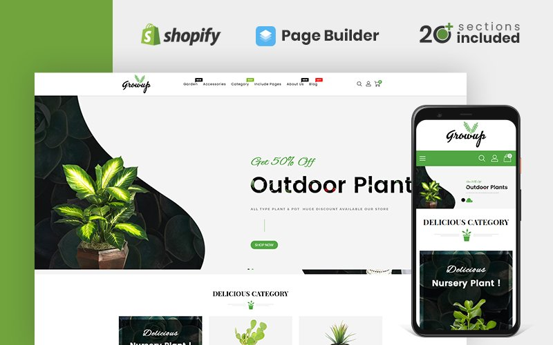 """Growup - Organic Garden Store"" thème Shopify adaptatif #158533"