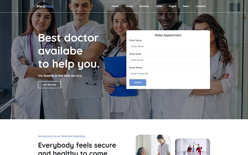 """""""Medimax - Medical and Health"""" - адаптивний Шаблон сайту №158531"""