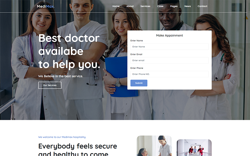 """Medimax - Medical and Health Website Template"" 响应式网页模板 #158531"