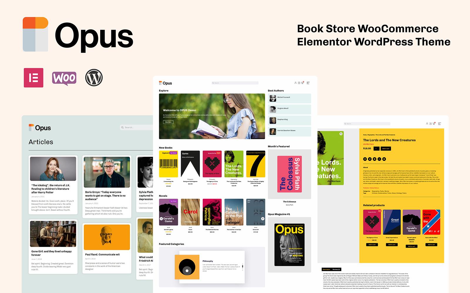 """OPUS - Book Store"" Responsive WooCommerce Thema №158526"