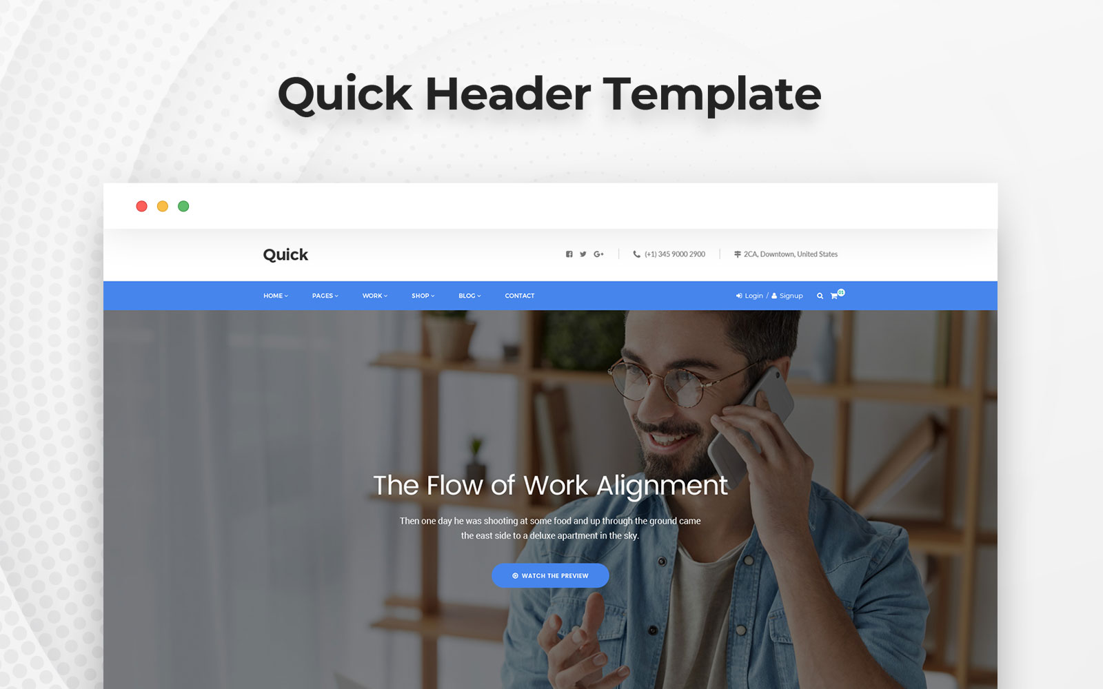 """Quick Header"" PSD Template №158516"