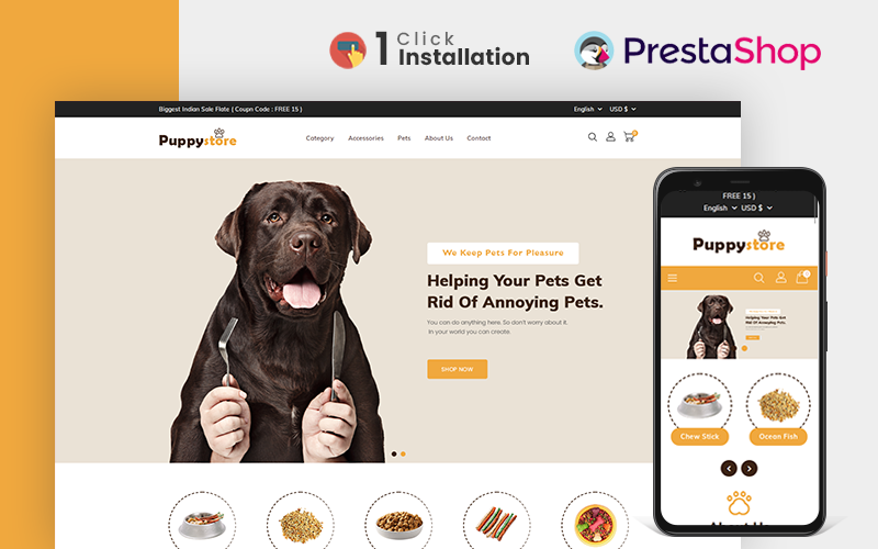 Responsive Puppy Pet Store Prestashop #158529
