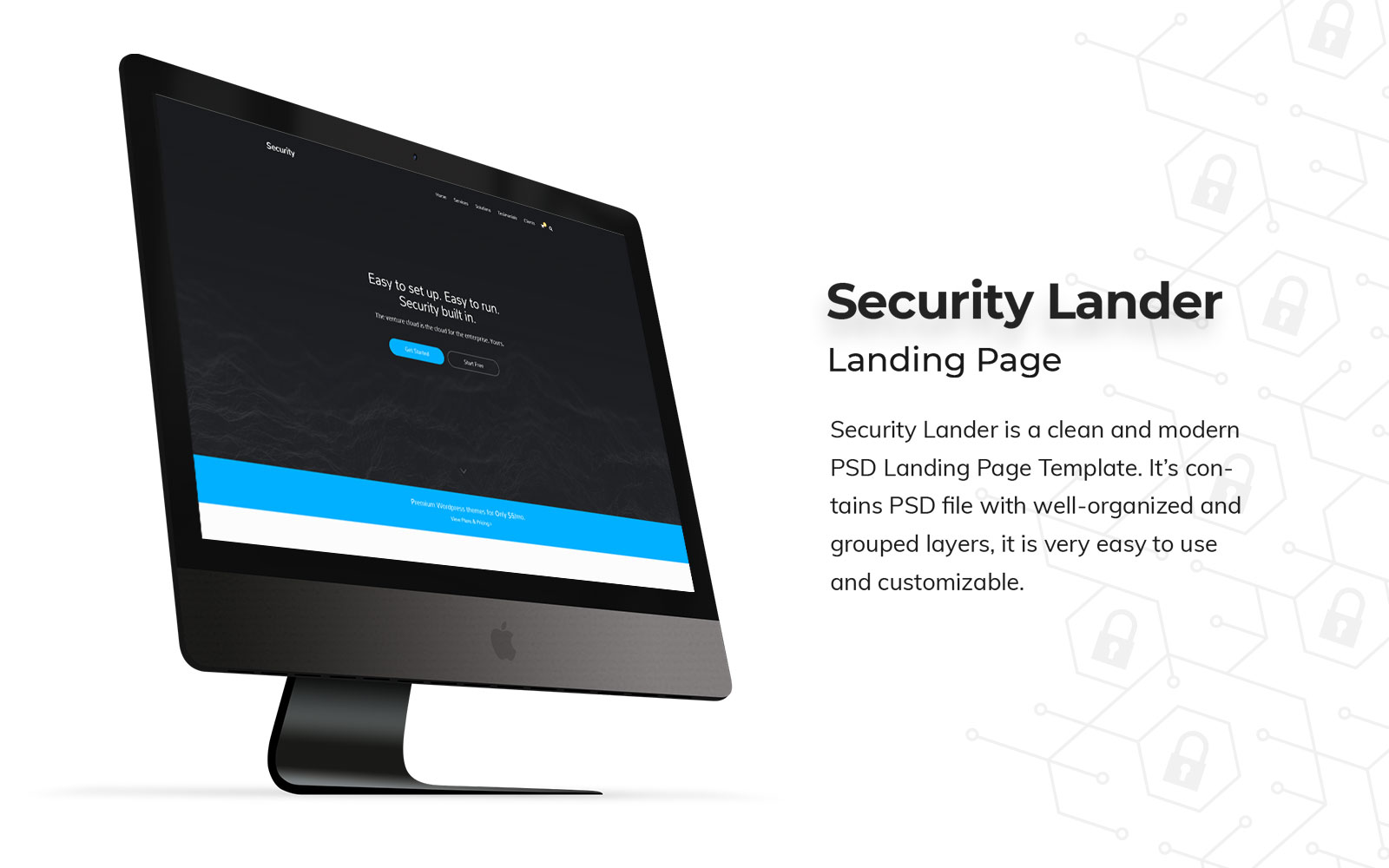 """Security Landing Page"" PSD Template №158521"