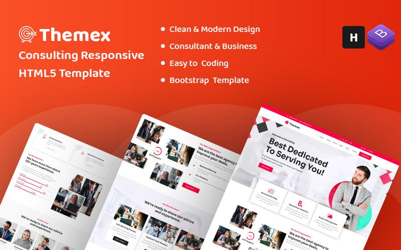 """Themex - Consulting HTML5"" - адаптивний Шаблон сайту №158535"