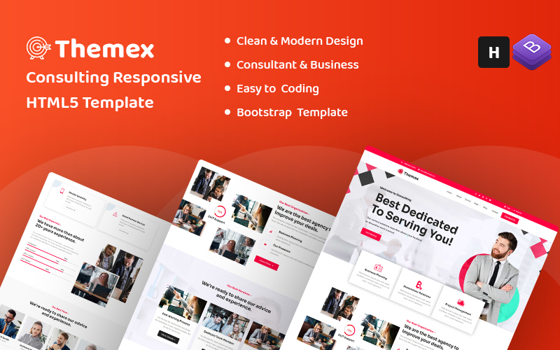 """""""Themex - Consulting HTML5"""" Responsive Website template №158535"""