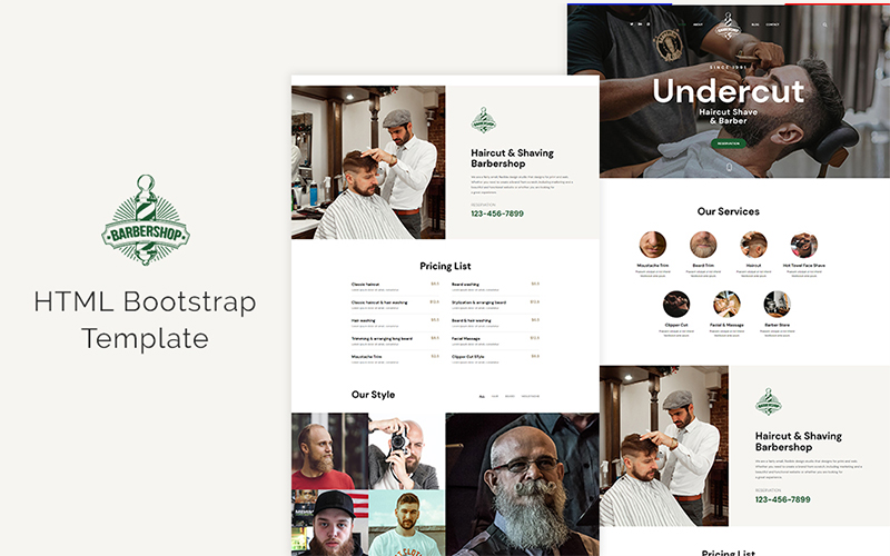 """Undercut - Barber Shop"" Bootstrap Website template №158530"