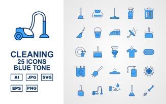 25 Premium Cleaning Blue Tone Icon Set