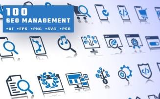 100 Seo Management Pro Icon Set