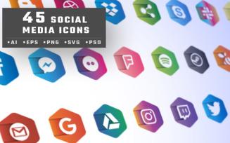 45 Social Media Icon Set