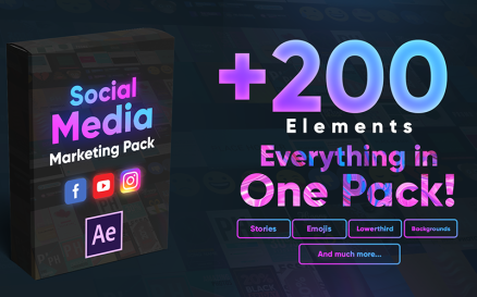 +200 Social Media Elements Pack After Effects Template