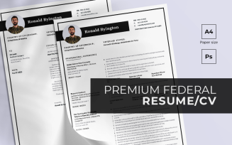 Federal Premium PSD PDF + Cover Letter Resume Template