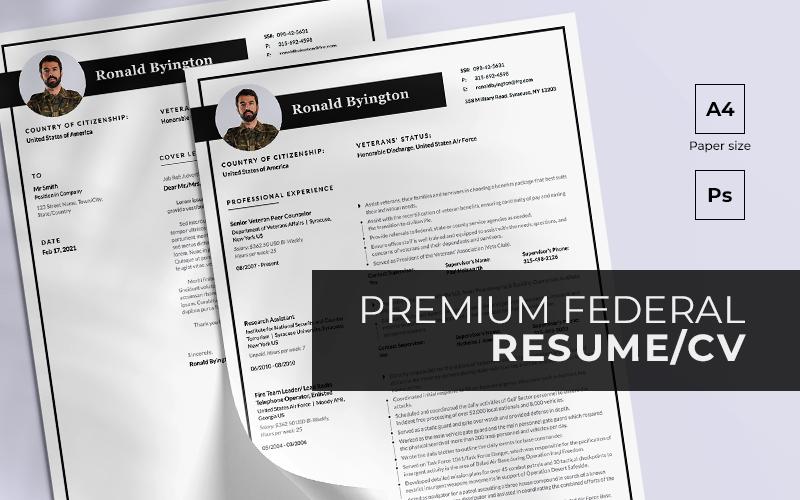 "Lebenslauf-Vorlage namens ""Federal Premium PSD PDF + Cover Letter"" #158718"