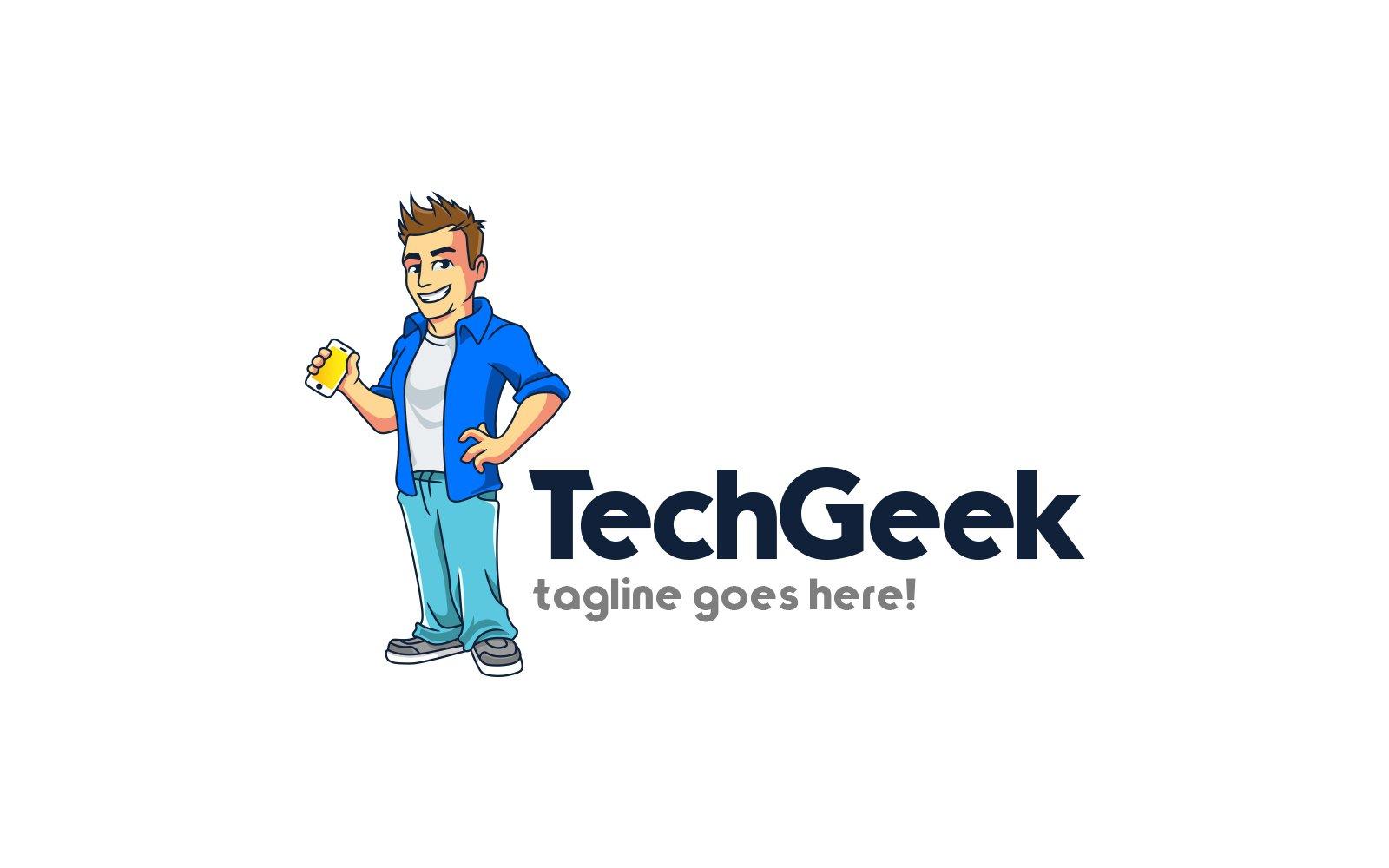 Tech Geek Mascot Template de Logotipo №158771