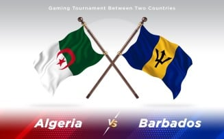Algeria versus Barbados Two Countries Flags