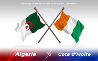 Algeria versus Cote d'Ivoire Two Countries Flags