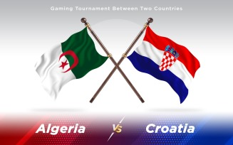 Algeria versus Croatia Two Countries Flags