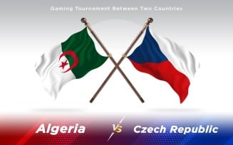 Algeria versus Czech Republic Two Countries Flags