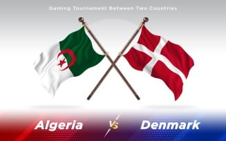 Algeria versus Denmark Two Countries Flags