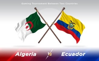 Algeria versus Ecuador Two Countries Flags