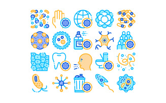Collection Bacteria Germs Vector Sign Set