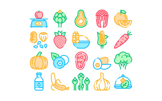 Collection Healthy Food Vector Thin Line Set