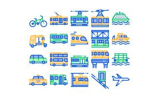 Collection Public Transport Vector Line Set