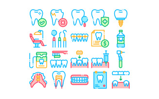 Stomatology Collection Vector Thin Line Set