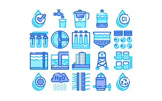 Water Treatment Items Vector Thin Line Set