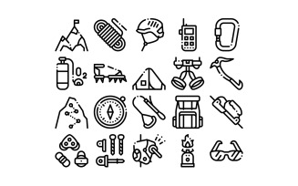Alpinism Collection Elements Vector Set