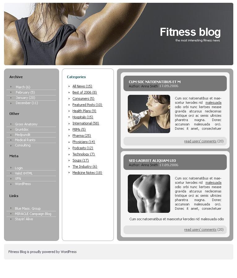 Fitness WordPress Theme - screenshot