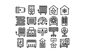 Heating And Cooling Collection Vector Set