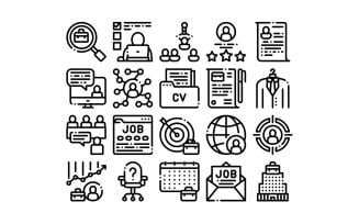 Job Hunting Collection Elements Vector Set