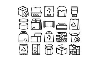 Packaging Collection Elements Vector Set