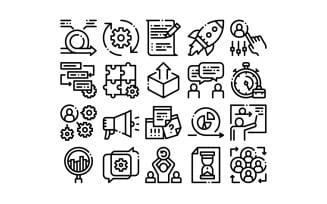 Scrum Agile Collection Elements Vector Set